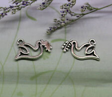40/200pcs 20x14mm Ancient silver lovely delicate dove olive branch charm pendant
