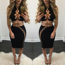 SEXY Womens Top+Skirt Evening Cocktail Party Bandage Bodycon Two Piece Skirt Set