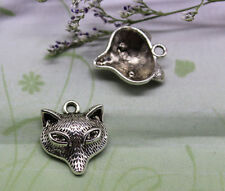 wholesale 25/100pcs Delicate and lovely antique silver fox head charm pendant