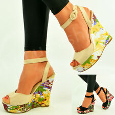Womens Floral Wedges Ladies Ankle Strap Peep Toe Platform Sandals Shoes Size Uk