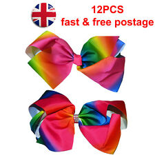12pcs Hair Bow Rainbow Bows Dance Moms baby & girls accessories clips 8 & 5 Inch