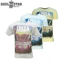 SOUL STAR MENS WHEATLEY IBIZA T-SHIRT TOP (3 - COLOURS) RRP £19.99 SAVE 55% OFF