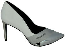 Decollete Donna Scarpe Con Tacco Bianco Versace Shoes Woman White Linea Bandage