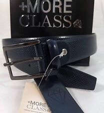 +More Class Cintura belt Pelle Perforated  Blue Made in Italy Genuine Leather