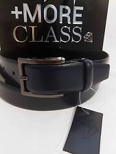 +More Class Cintura belt Pelle Spazzolato Blue Made in Italy Genuine Leather