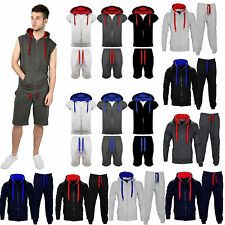 New Mens Sleeveless Full Tracksuit Hooded Short Bottoms Gym Jogging Suit S-XL