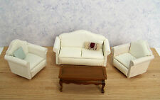 Dollhouse Miniature Furniture ~ Modern Living Room Set  ~ White ~ Striped ~