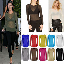 WOMENS LADIES CASUAL / PARTY SHEER MESH LONG SLEEVE T SHIRT TOP PLUS SIZE 8-22