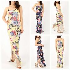 WOMENS LADIES CASUAL / HOLIDAY SLEEVELESS SPLIT SIDE FLORAL LONG CAMI MAXI DRESS