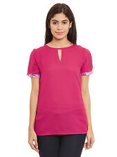 Pleated sleeve top in fuchsia color with keyhole detailing at front