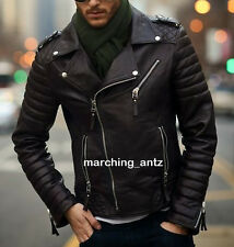 New Soft Genuine Leather Lambskin Motorcycle Biker Jacket Blazer Bomber Coat 535
