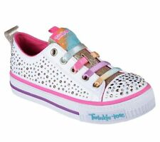 NEW SKECHERS Girls Sneakers Trainers Limited Edition SHUFFLES- TWIRLY TOES White
