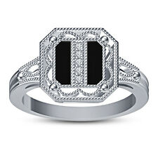 Real Diamond White Platinum Plated 925 Silver Wonderful Ring With Black Stone