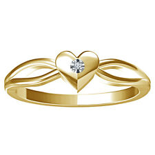 925 Sterling Silver 14K Yellow Gold Plated Real Diamond Elegant Heart Ring