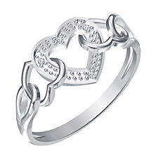 White Rhodium Plated-925-Silver-White-Real-Diamond-Triple-Heart-Promise-Ring