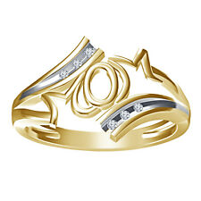 """Stunning """"MOM"""" Letter Ring For Women's In 925 Silver White Real Diamond Gold"""