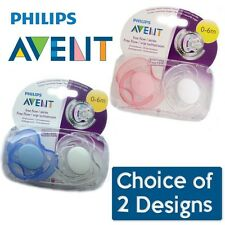 Philips Avent Free Flow Soother Twin Pack - Age 0-6m CHOICE OF COLOUR (A32)