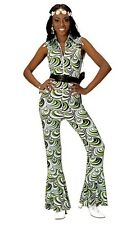 70's Disco Diva Vintage Groovy Jumpsuit Waves Ladies Fancy Dress Costume S-L