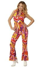 70's Disco Diva Vintage Groovy Jumpsuit Orchids Ladies Fancy Dress Costume S-L