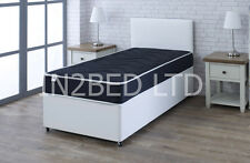 2FT6 WHITE LEATHER BED AND MATTRESS, DIVAN BED MATTRESS AND HEADBOARD SINGLE BED