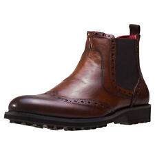 NW1 London Premium Waxed Uomo Stivali chelsea Brown Tan nuovo Scarpe