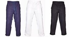 Mens Cotton White Navy Black Summer Trousers Beach Holiday Casual Pants Bottoms