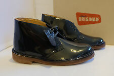 Clarks Originals Boots Petrol Patent Leather Womens Desert Boots C Width Fitting