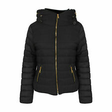 New Womens Ladies Kids Quilted Padded Puffer Bubble Fur Collar Thick Jacket Coat