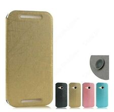 Heartly Premium PU Leather Flip Stand Hard Back Case Cover For HTC One M8 Mini 2