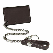 New CTM Men's Leather Trucker Chain Trifold Wallet