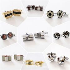 NEW 925 Sterling Silver Cufflinks Round Silver Gift Square Shirt Wedding Vintage