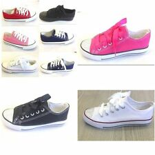 Kids Flat Lace Up Canvas Low Top Childrens Juniors Boys Girls Trainers Shoes