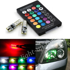 2X Car T10 6 SMD LED RGB Wedge Reading Lights W5W 501 Side Bulbs+ Remote UKstock