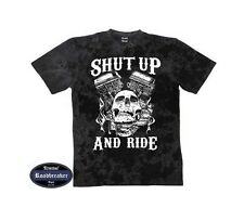 T-SHIRT BATIK NERO VINTAGE HD motivo biker & OLDSCHOOL SHUT UP E RIDE S-XXXL