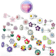 Kids Sterling silver flower stud earrings hypoallergenic free macaron gift box!