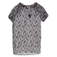 MW by Matthew Williamson Block Feather Beaded Shirt