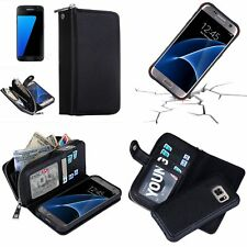 Samsung Galaxy 2 in 1 Wallet Purse Case with Detachable Magnetic Hard Cover