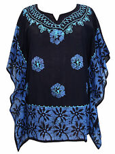 BNWT Hand Crafted Black & Blue Batik Print & Embroidered Kaftan 48 Inch Bust