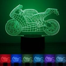 3D Motorcycle Illusion LED Table Desk Light USB 7 Color Changing Night Lamp Home