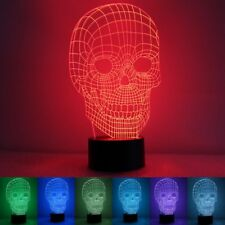 3D Skull Illusion LED Table Desk Light USB 7 Color Changing Night Lamp Home Deco