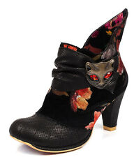 Irregular Choice NEW Miaow black floral high heel ankle cat boots size 3-8