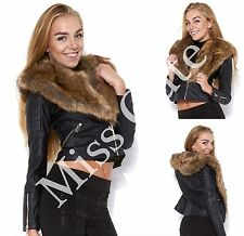 WOMENS LADIES CASUAL FAUX FUR COLLAR SHINY PU PVC LEATHER LOOK BIKER JACKET COAT