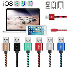 3/6/10FT Braided Aluminum USB Data&Sync Charger Cable For iPone 5s 6 7 Plus Lot