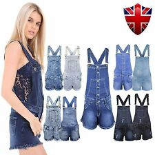 New Ladies Womens Denim Dungarees Playsuit Jumpsuit MINI Short Dress Jeans 8-18