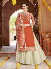 Shanaya Orange Straight Silk Designer Kurti / Kurta with Dupatta