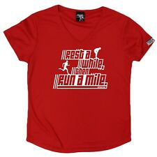 Personal Best - Rest Then Run - Dry Fit Breathable Sports V- NECK T-SHIRT