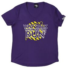 PB - Why Walk When You Can Run - Dry Fit Breathable Sport V- NECK T-SHIRT