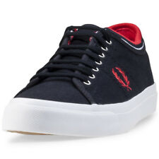 Fred Perry Kendrick Tipped Cuff Mens Blue Canvas Casual Trainers Lace-up