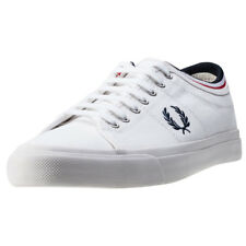 Fred Perry Kendrick Tipped Cuff Mens White Canvas Casual Trainers Lace-up