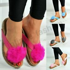 New Womens Ladies Pom Flat Slippers Sandals Summer Shoes Size Uk 3-8